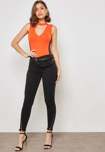 Side Zip Raw Hem Skinny Jeans