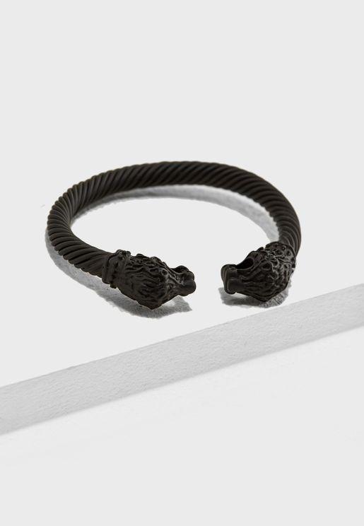 Matt Black Leopard Cuffed Bracelet