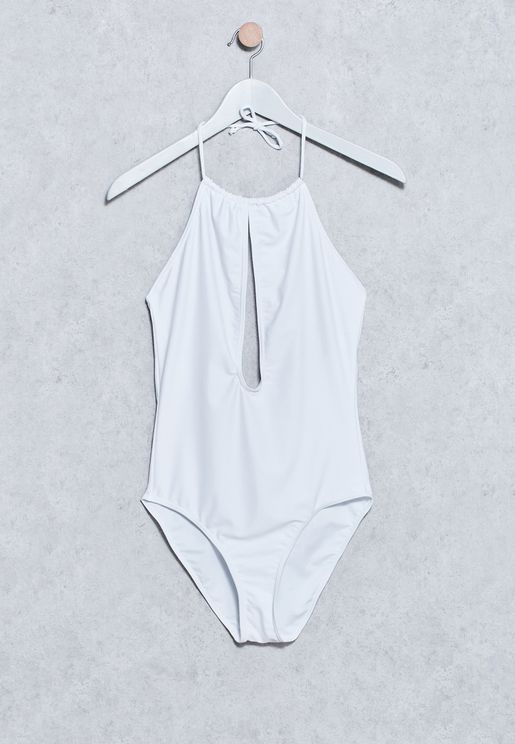 Plunge Necklace Detail Open Back Swimsuit