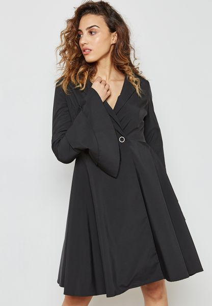 Flute Sleeve Wrap Front Dress