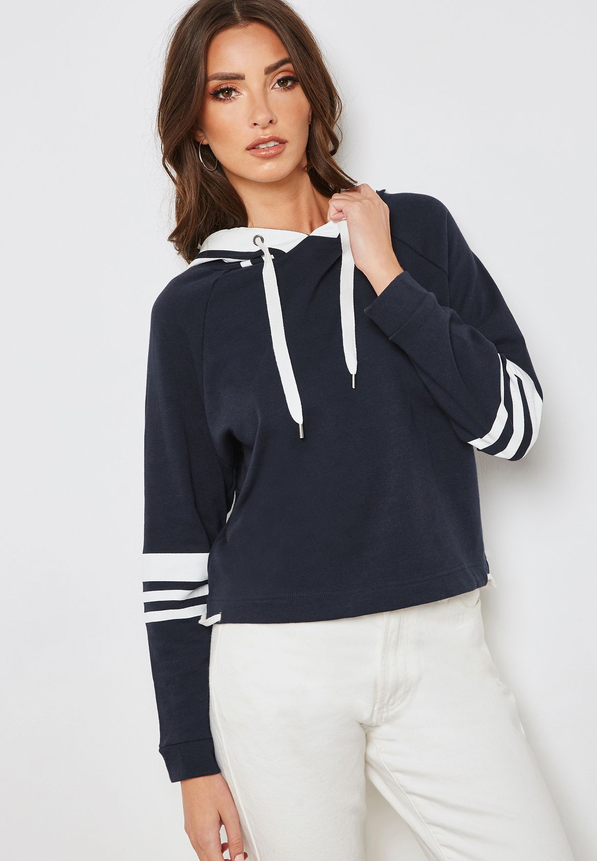 ff65f81287d Shop Forever 21 navy Striped Sleeve Hoodie 288402 for Women in Saudi -  FO057AT73CFU