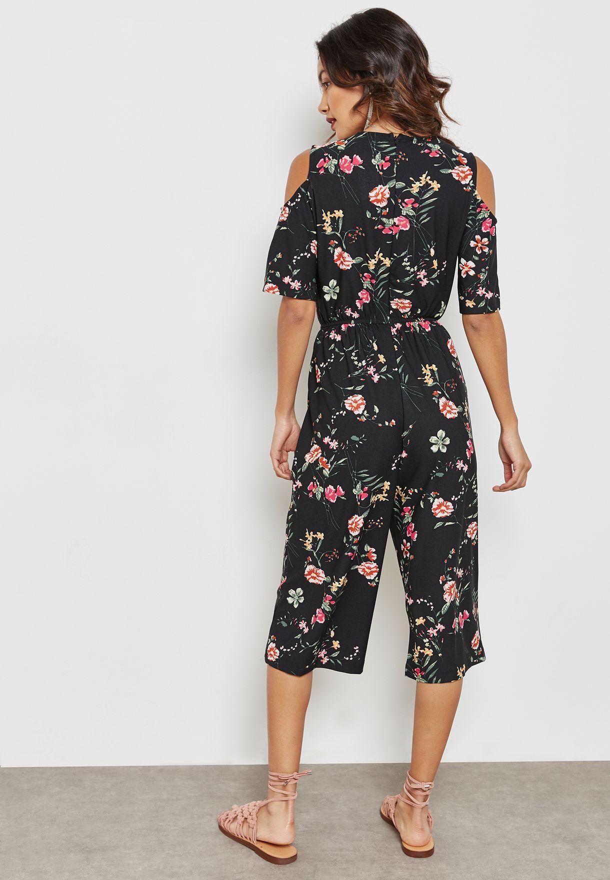 Floral Print Cold Shoulder Culotte Jumpsuit