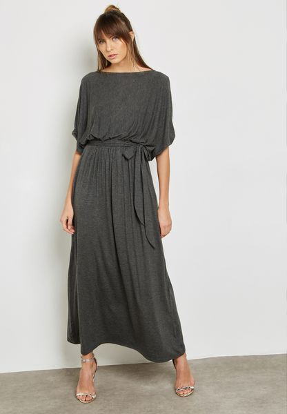 Boat Neck Self Tie Maxi Dress