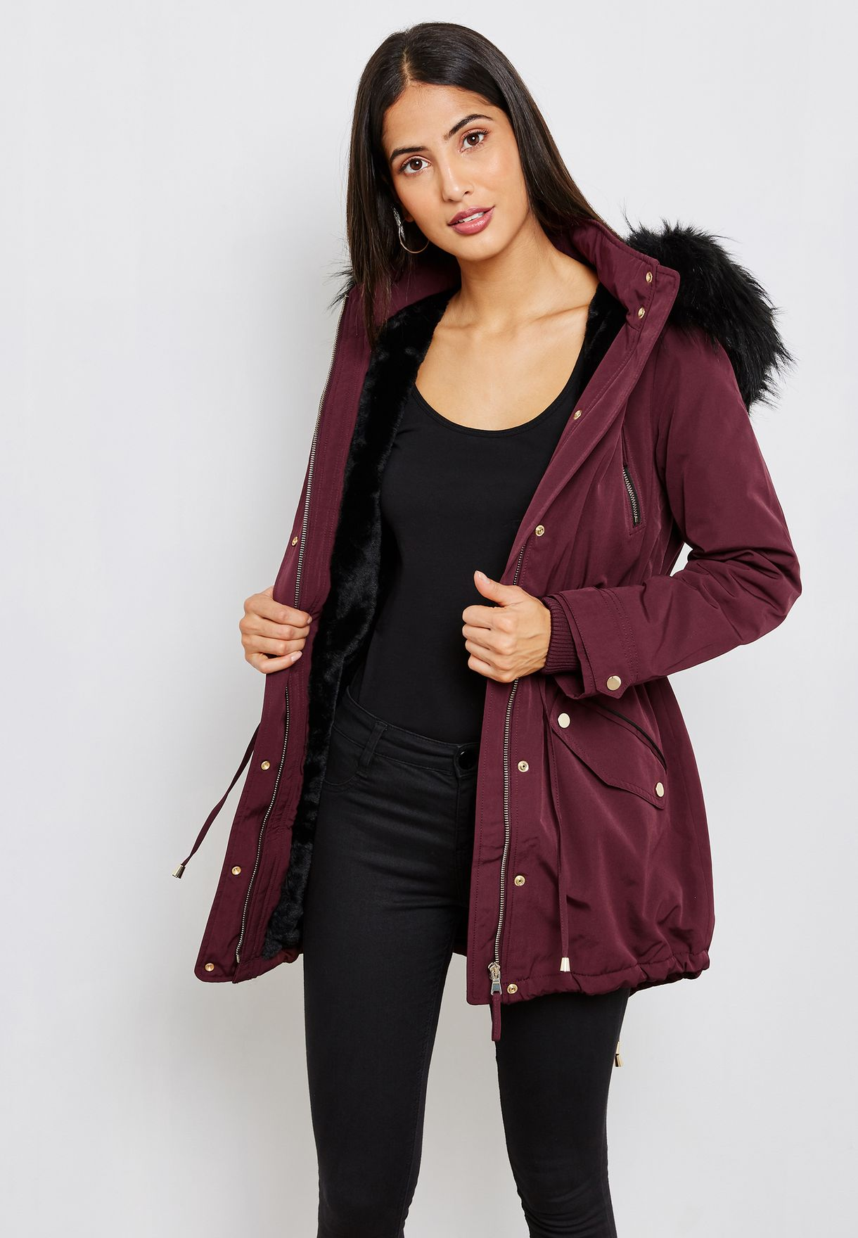 Ladies Burgundy Parka Coat