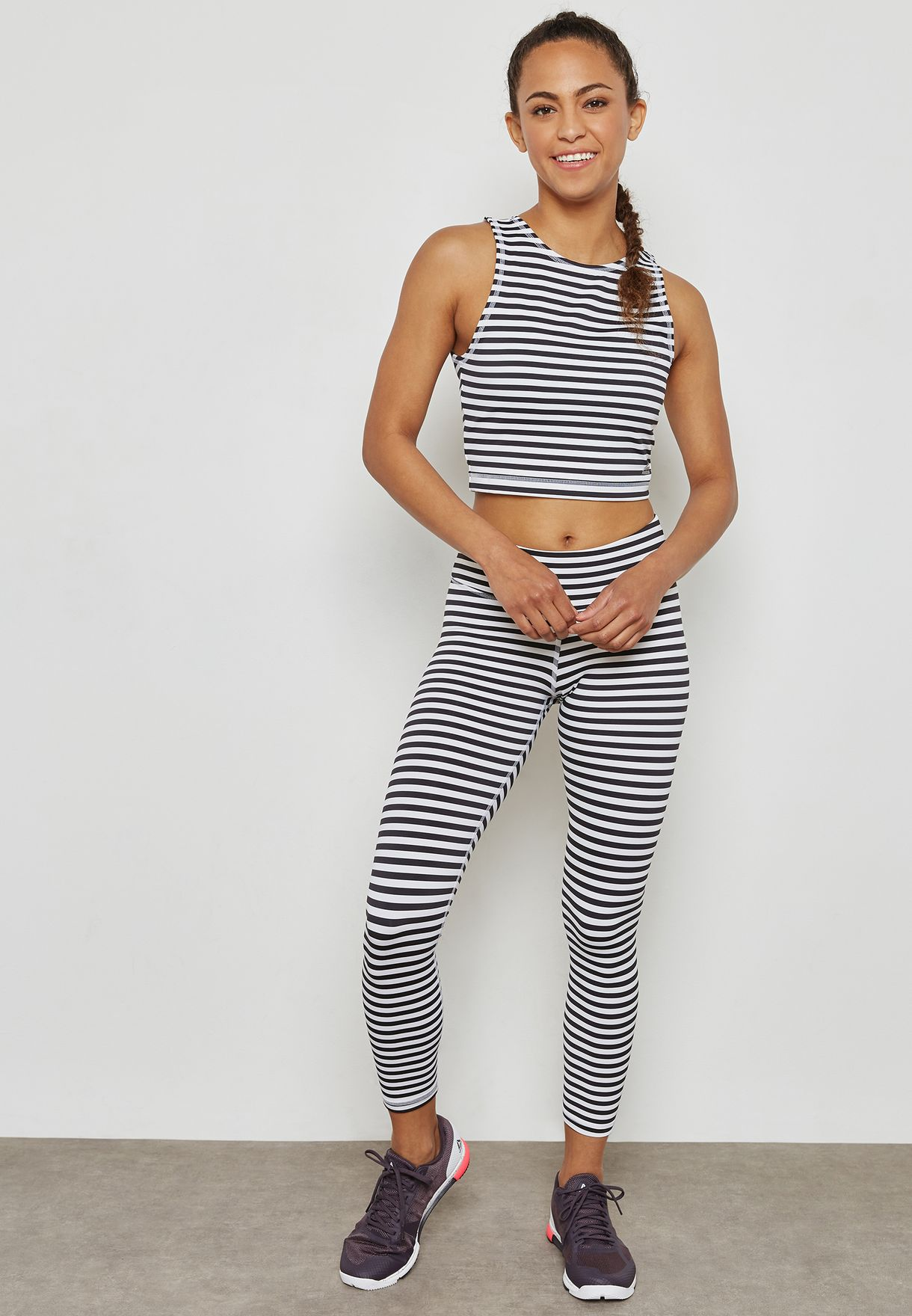 33e242f9bc4d Shop Reebok monochrome Stripe 7 8 Leggings CF8710 for Women in UAE ...