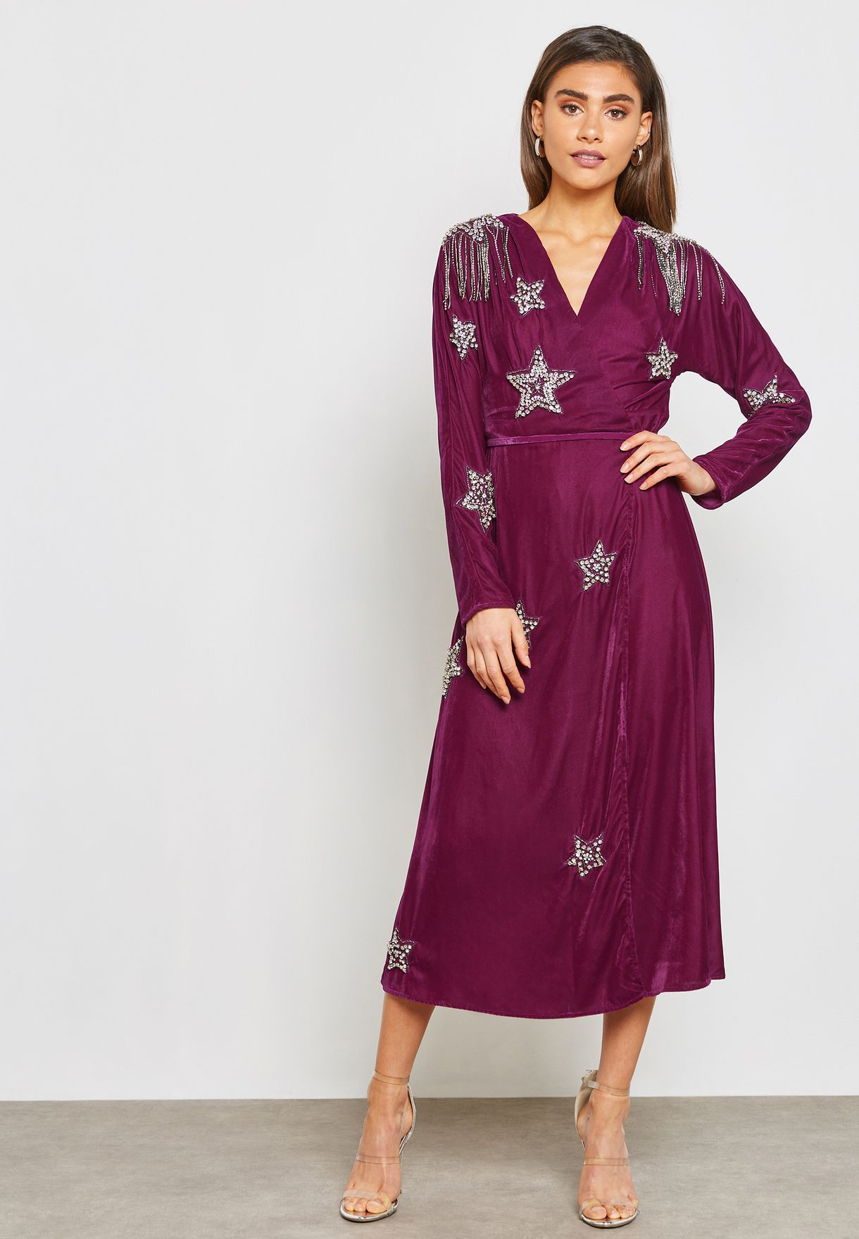 46436089d96f Shop Topshop purple Star Embellished Midi Dress 10K14PMAG for Women ...