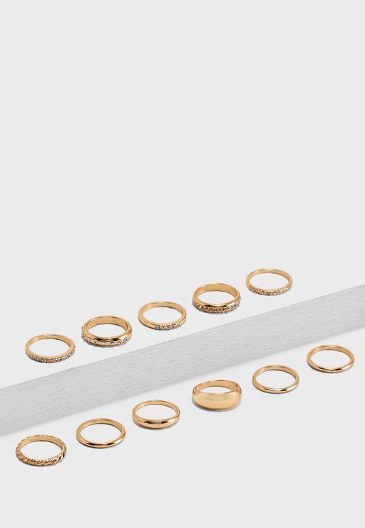 مجموعة من 11 خاتم مزين بأحجار الراين