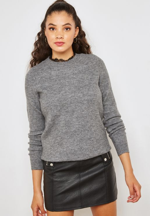 High Neck Lace Detail Long Sleeve Sweater