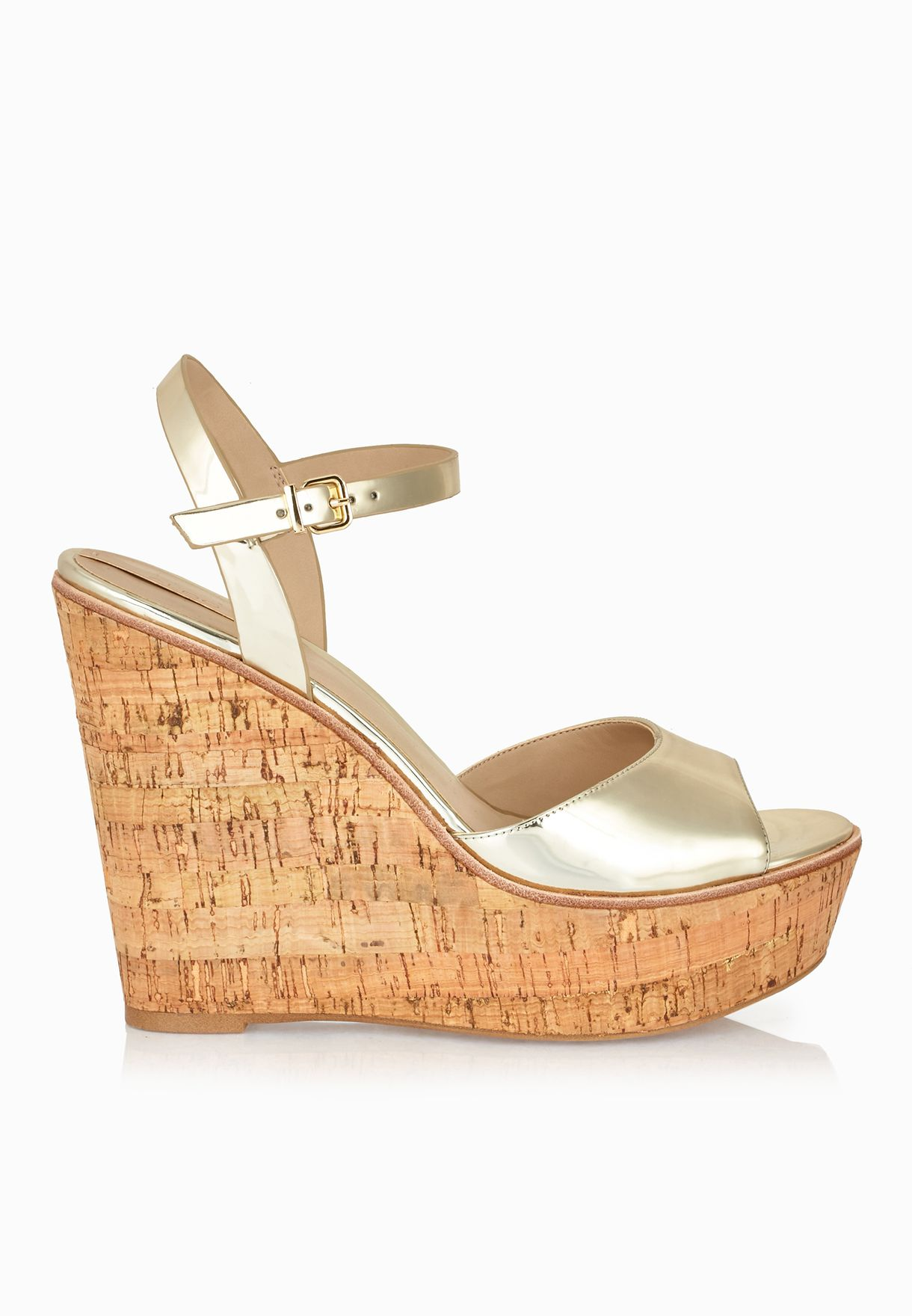 bc8439b0706 Shop Aldo gold Aralinna Ankle Strap Wedge Sandals for Women in UAE ...