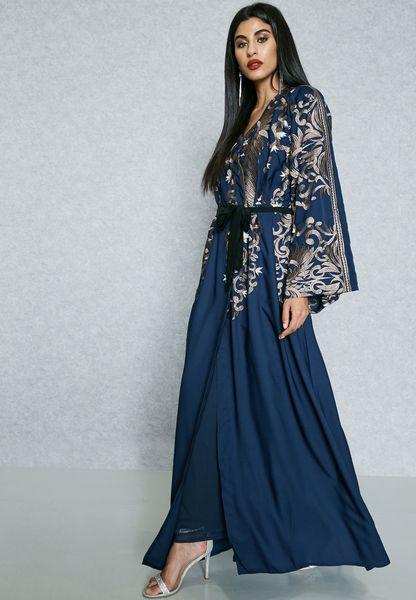 Embrodered Top Self Tie Abaya