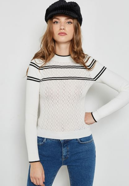 High Neck Striped Detail Sweater