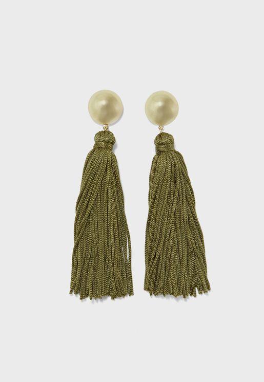 Dome Top Slinky Tassel Earrings