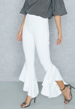 Draped Ruffled Pants