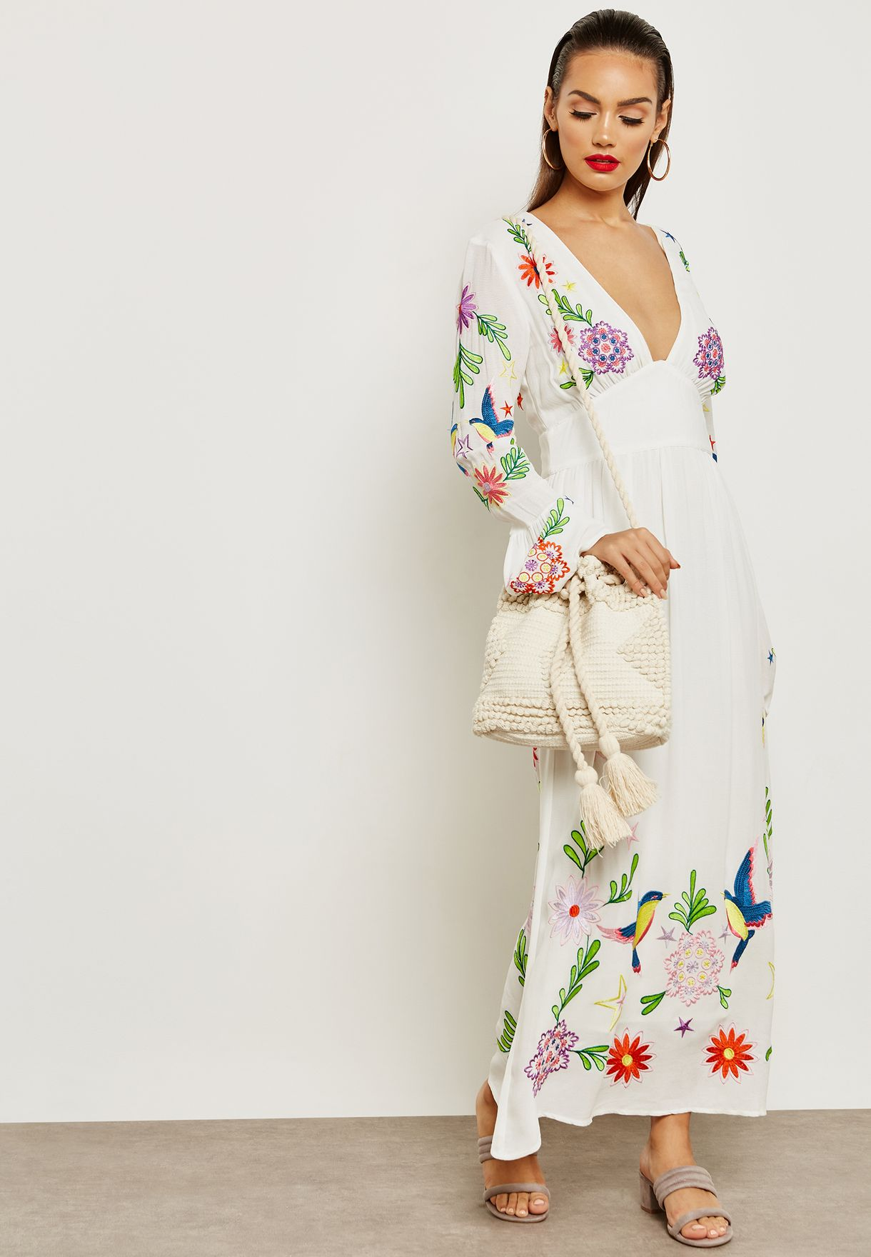 28b0ef7551d3 Shop Topshop white Embroidered Plunge Midi Dress 10C01PWHT for Women ...