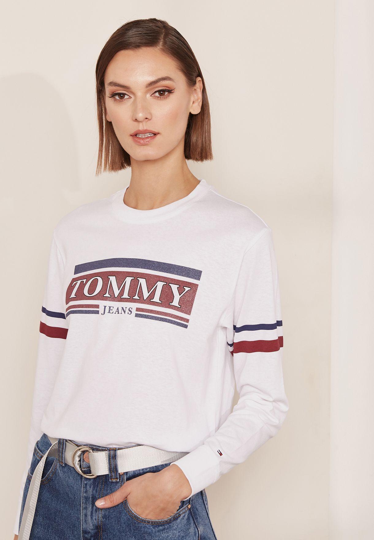 15990b58ef Shop Tommy Jeans white Striped Detail Logo T-Shirt DW0DW05282 for ...