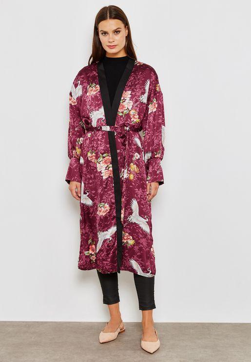 Oriental Print Longline Kimono