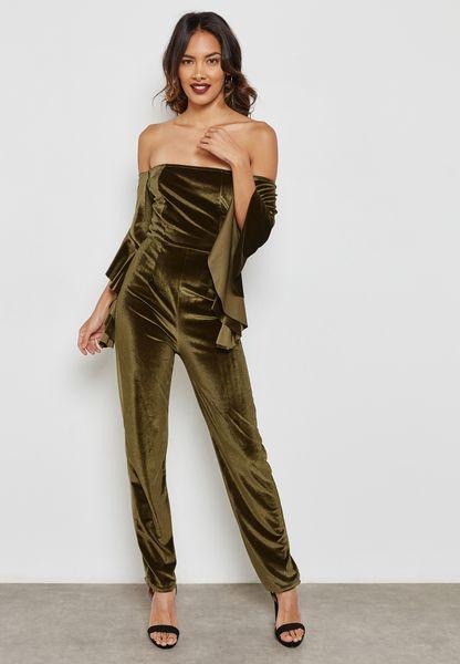 Ruffle Sleeve Bardot Velvet Jumpsuit