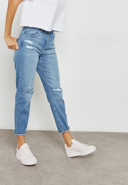 High Rise Ripped Mom Jeans