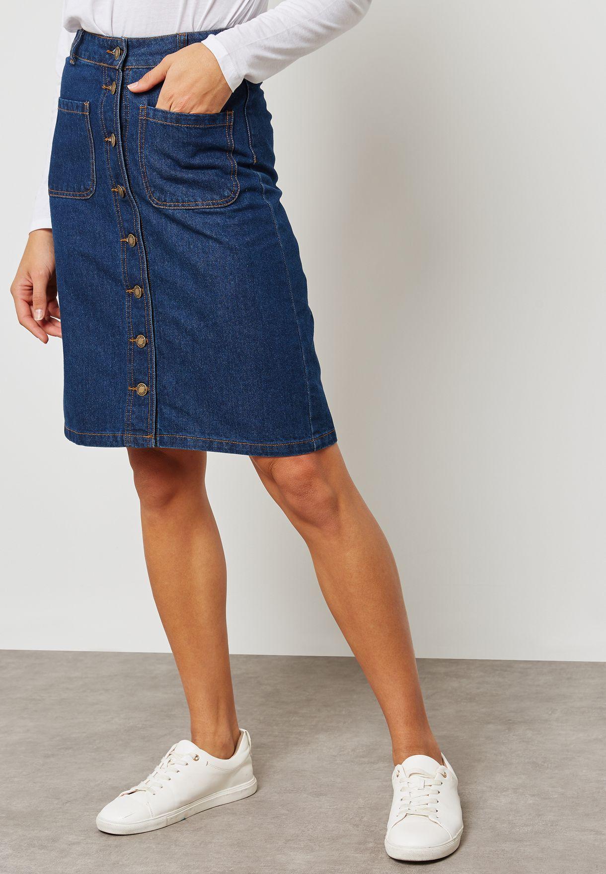 1721024e2c55 Shop Ginger blue Button Front Denim Skirt LSKD-340TANGOR2 for Women ...