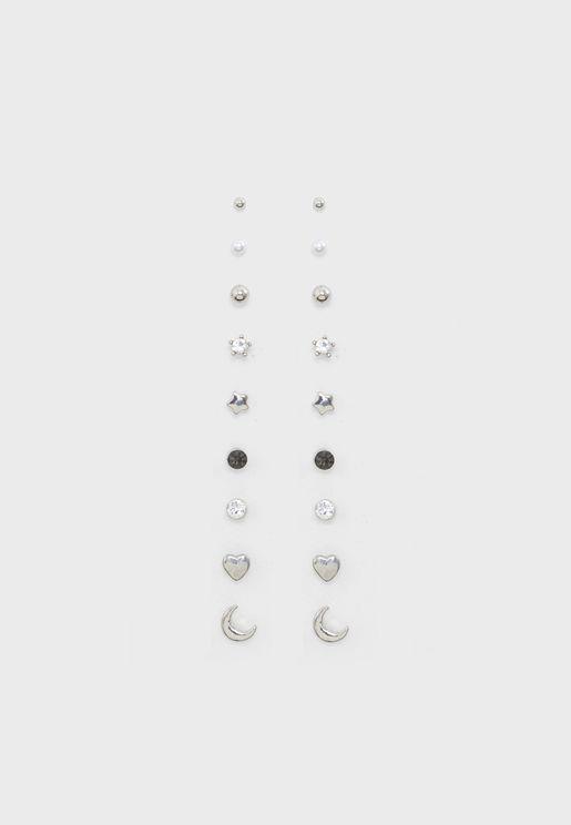 Pack of 9 Mixed Stud Earrings