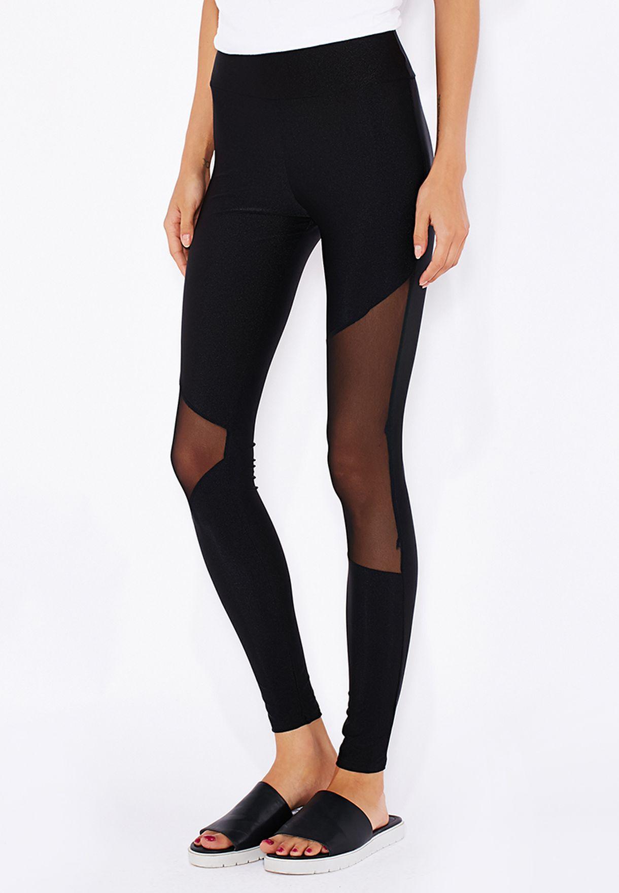 f1abfb2acda55b Shop Boohoo black Mesh Insert Leggings AZZ09832 for Women in Bahrain ...