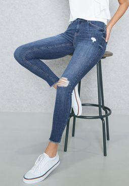 Knee Slit Skinny Jeans
