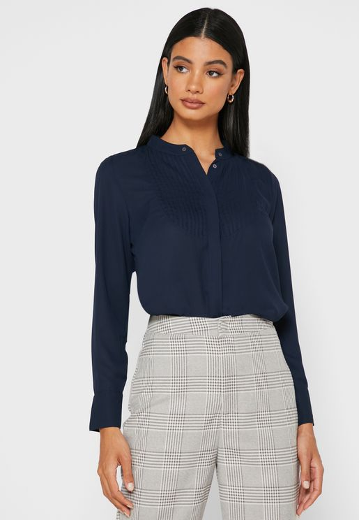 Pleated Front Long Sleeve Shirt