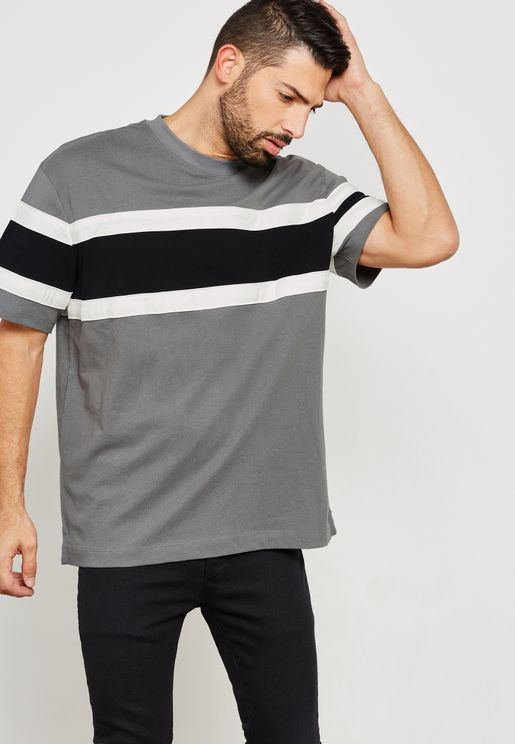 Black Oversized Panelled T-Shirt