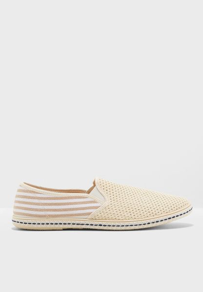 Striped Cotton Slip Ons