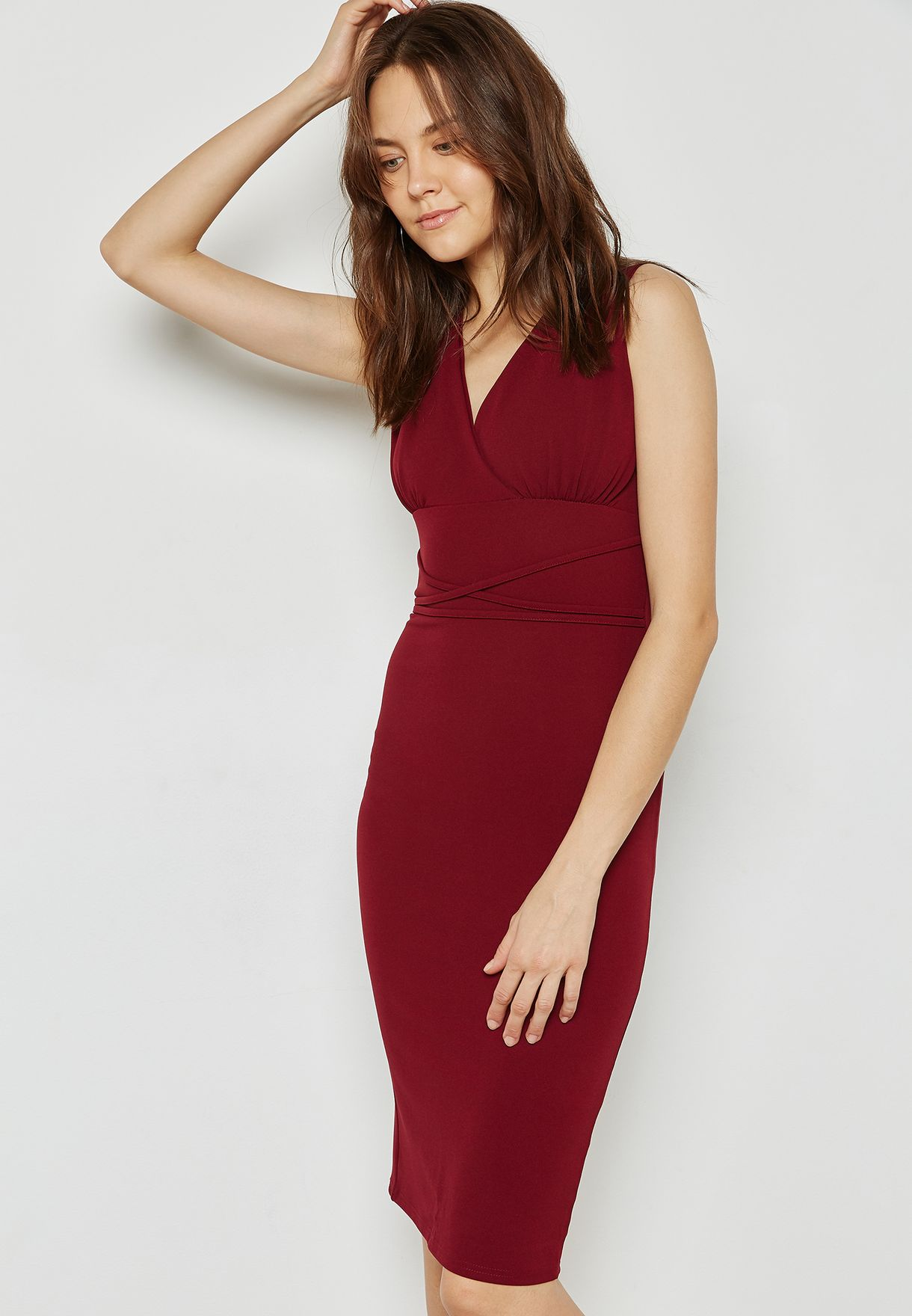 12412e654 Shop Ella burgundy Scuba Wrap Front Detail Waist Dress CR2417 for ...