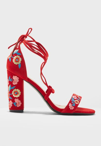 Tie Up Floral Embroidery Block Heel