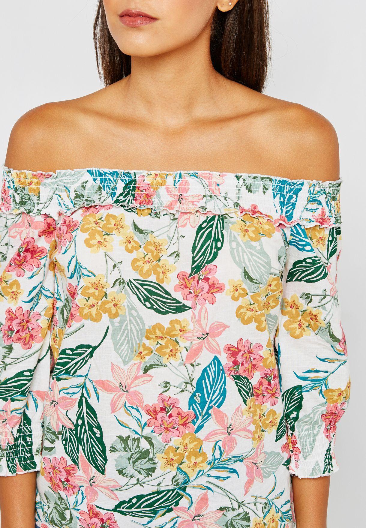 Printed Smocked Detail Bardot Top