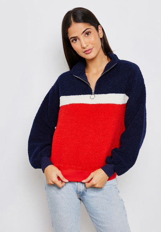 High Neck Zip Detail Sweatshirt