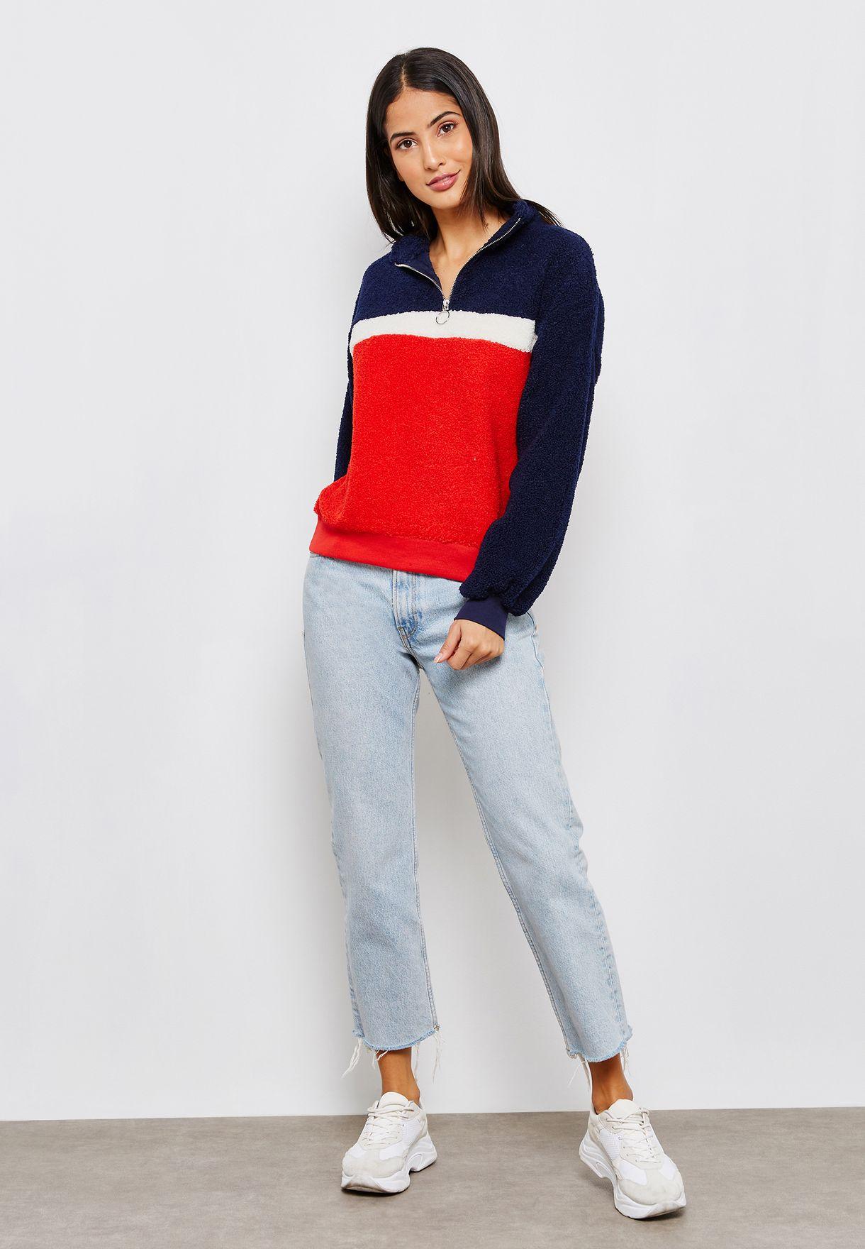 High Neck Zip Detail Sweatshirt