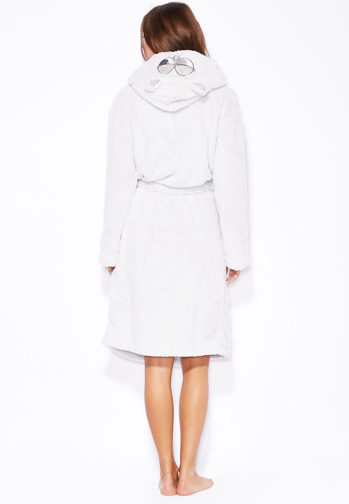 1511f14a63 Shop Dorothy Perkins grey Owl Hooded Robe for Women in Kuwait ...