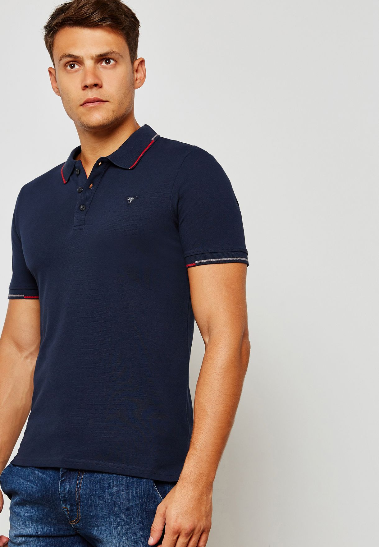 22ddce6e Shop Guess navy George Polo M83P03K4KV0 for Men in UAE - GU094AT73IKK