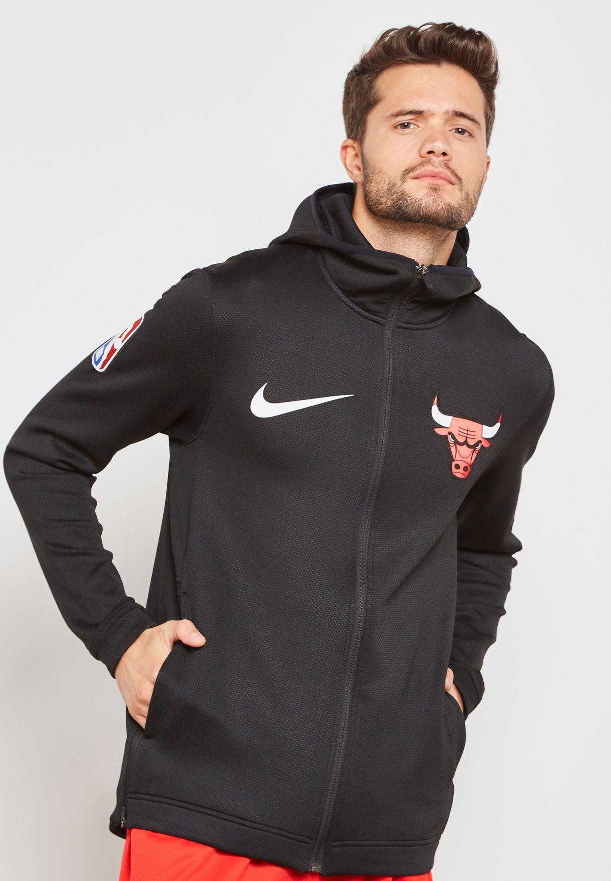 19a856b1274 Shop Nike black Chicago Bulls Therma Flex Showtime Hoodie 940118-010 ...
