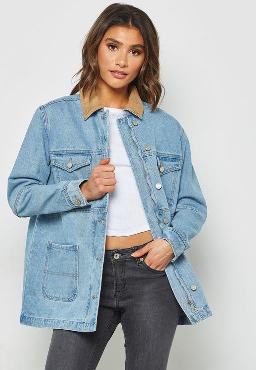 Suedette Collar Denim Jacket