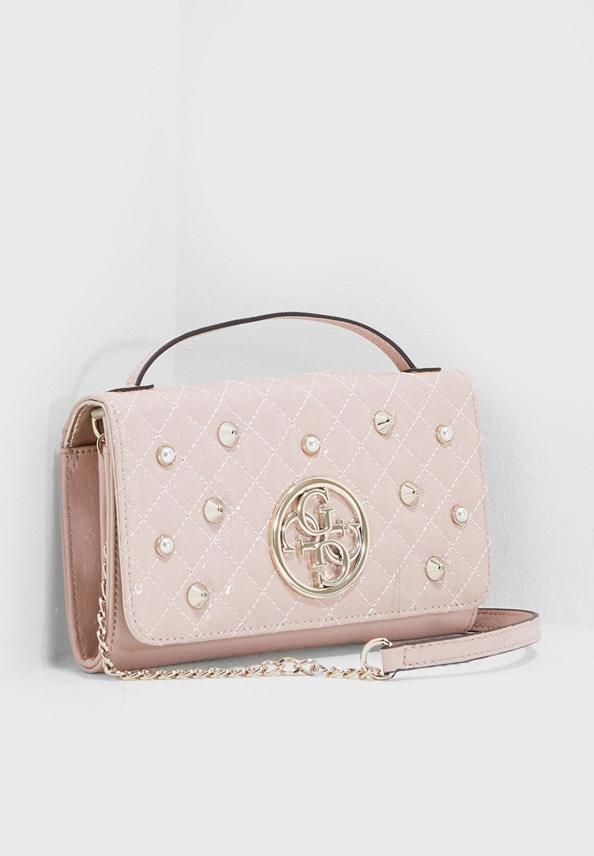 3eeb1f3e7aaa Shop Guess pink Small Florence Crossbody SG698979ROS for Women in ...