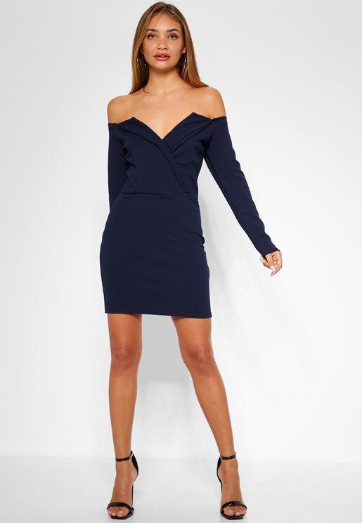 Bardot Plunge  Mini Dress