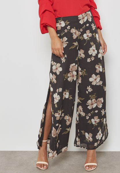 Floral Print Wide Leg Side Slit Pants