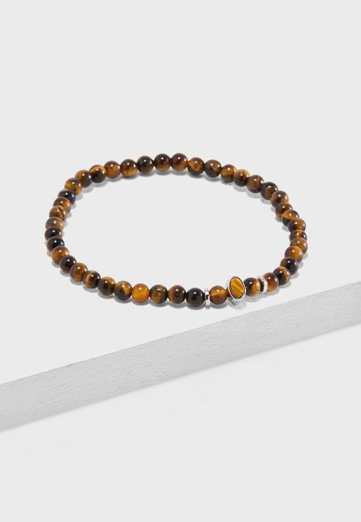 Tigers Eye Beaded Stone Bracelet