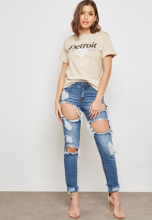 Riot High Rise Ripped Jeans