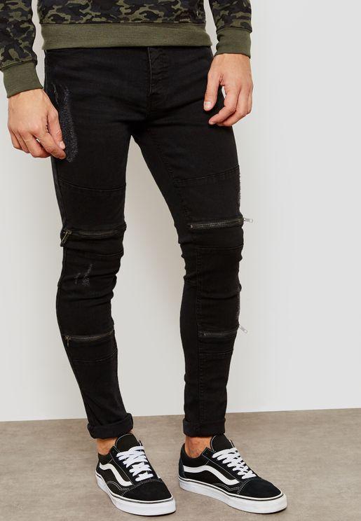 Elba Zip Detail Super Skinny Distressed Jeans