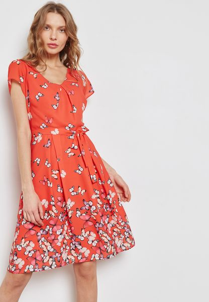 Butterfly Print Skater Dress