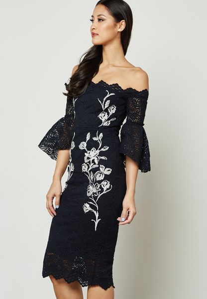Embroidered Lace Flared Sleeve Bardot Dress