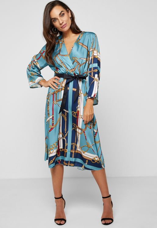Chain Print Wrap Front Midi Dress