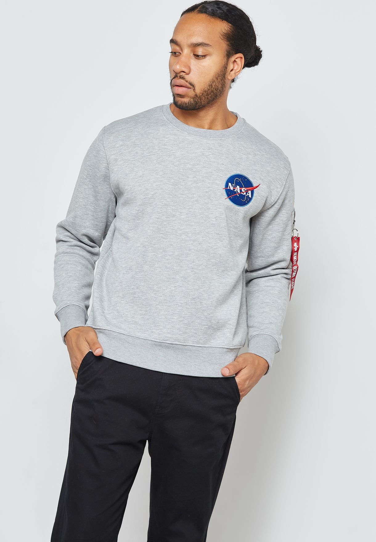 3b9eedf737 Shop Alpha Industries grey NASA Space Shuttle Sweatshirt 178307 for ...