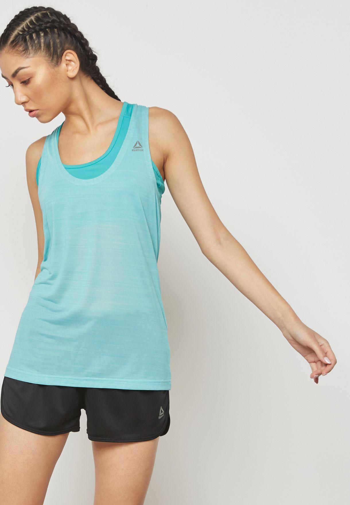 5d3b1d14e7361 Shop Reebok blue Workout Ready Activchill Tank CD7584 for Women in ...
