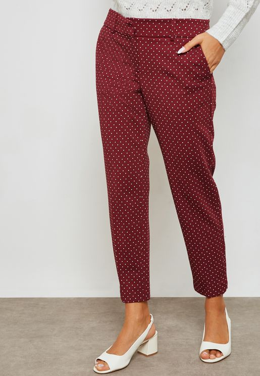 Printed Ankle Grazer Pants